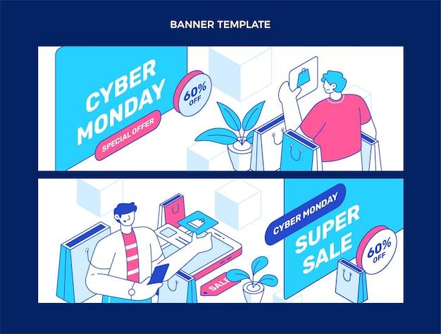 Conjunto de banners isométricos de venda horizontal de segunda-feira cibernética