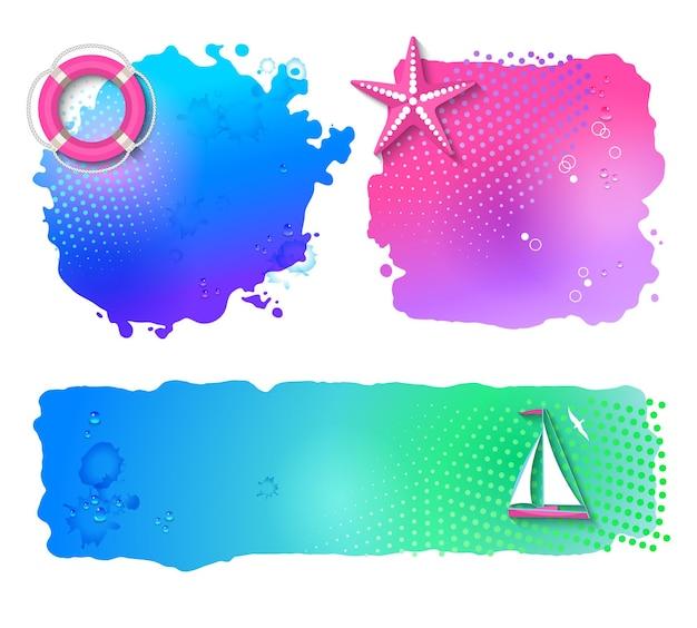 Conjunto de banners marinhos em aquarela com elementos náuticos