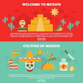 Conjunto de banners mexicanos