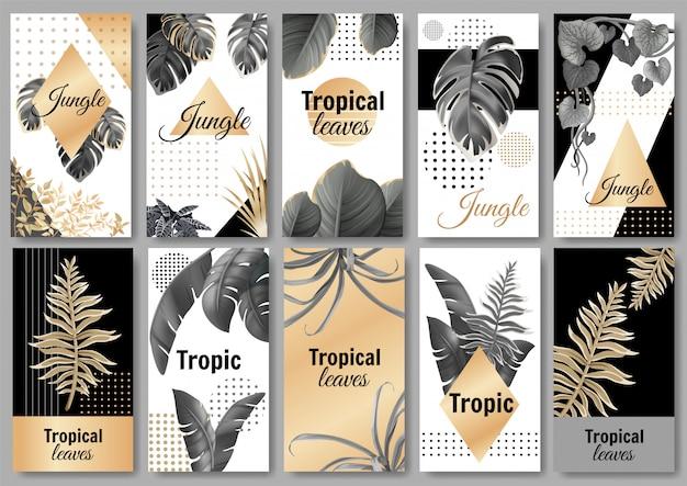 Conjunto de banners modelo com folhas escuras e douradas