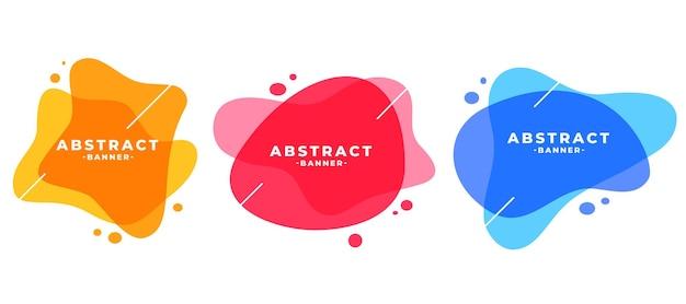 Conjunto de banners modernos com moldura de cores abstratas