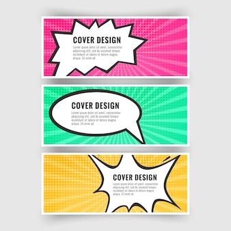 Conjunto de banners no estilo de coleção de arte pop ou quadrinhos