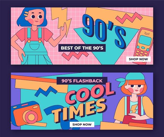 Conjunto de banners nostálgicos desenhados à mão dos anos 90
