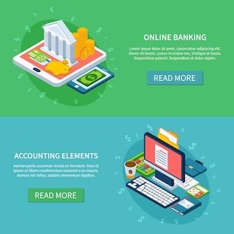 Conjunto de banners on-line bancário