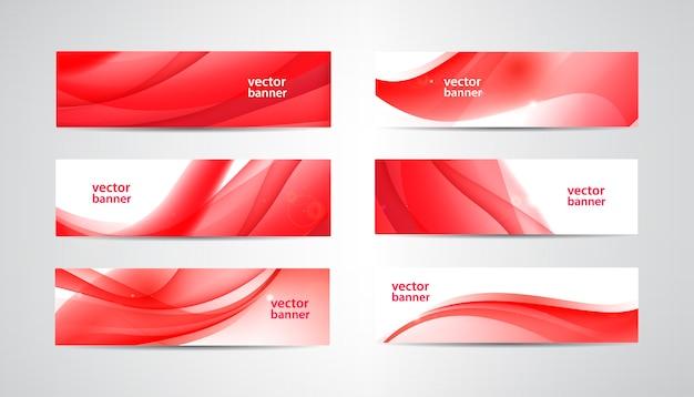 Conjunto de banners ondulados, cabeçalhos de web vermelhos. fundo abstrato vibrante de seda, orientação horizontal.