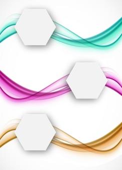 Conjunto de banners ondulados com hexágonos de papel