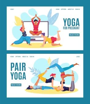Conjunto de banners online de ioga