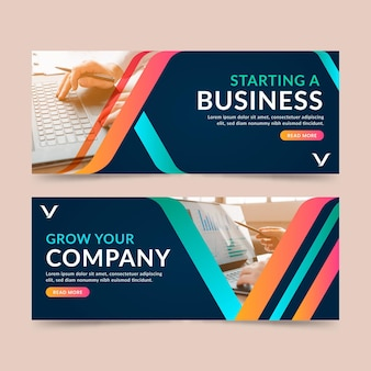 Conjunto de banners para empresas iniciantes