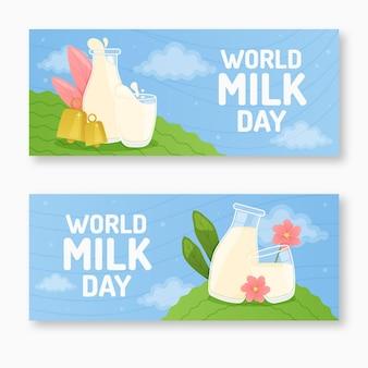 Conjunto de banners para o dia do leite no mundo plano