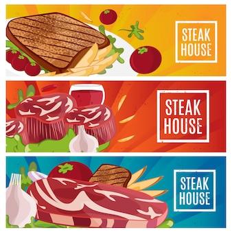Conjunto de banners para o tema steak house com bife, batatas fritas, vinho.