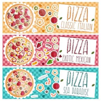 Conjunto de banners para pizza de tema com gostos diferentes