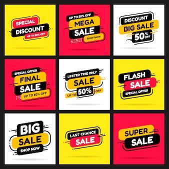 Conjunto de banners para publicidade mega venda e descontos