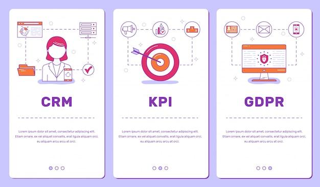 Conjunto de banners para telefone, crm, kpi, gdpr
