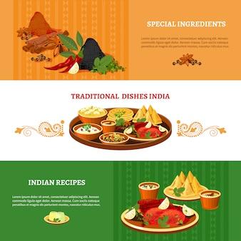 Conjunto de banners plana de cozinha indiana