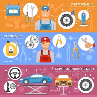 Conjunto de banners plana de serviço de reparação de automóveis