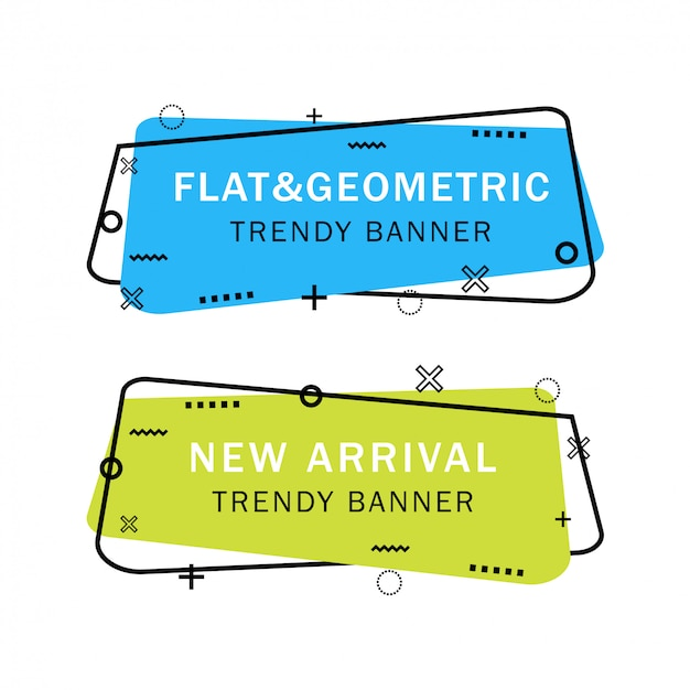 Conjunto de banners plana geométricas na moda
