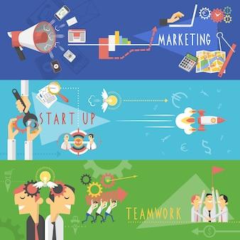 Conjunto de banners planas de marketing de negócios