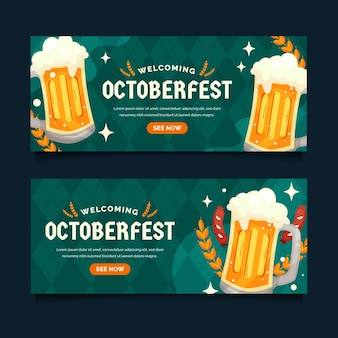 Conjunto de banners planas horizontais da oktoberfest