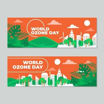 Conjunto de banners planas horizontais do dia mundial do ozônio