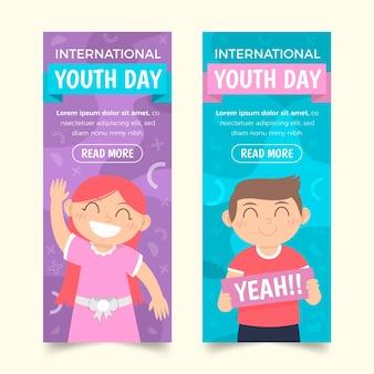 Conjunto de banners planas internacionais do dia da juventude