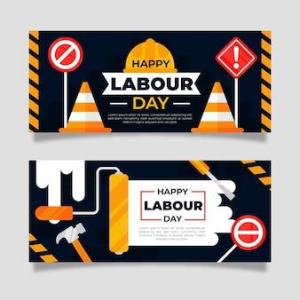 Conjunto de banners planos para o dia do trabalho