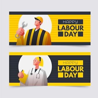 Conjunto de banners planos para o dia do trabalho Vetor grátis