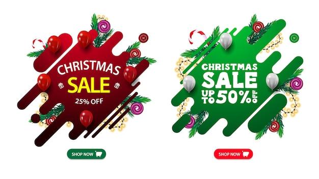 Conjunto de banners pop-up da web de descontos de natal com formas fluidas abstratas decoradas com galhos de árvores de natal, doces e festão.