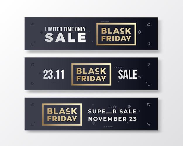 Conjunto de banners premium elegante de sexta-feira negra. conceito de tipografia moderna.