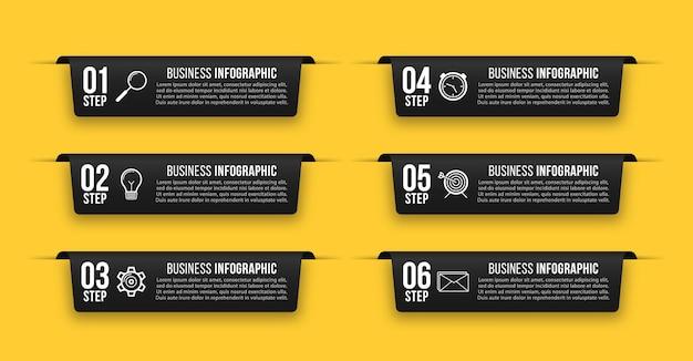 Conjunto de banners pretos de infográfico modelo de infográficos de negócios