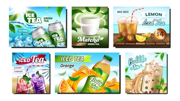 Conjunto de banners promocionais criativos ice tea