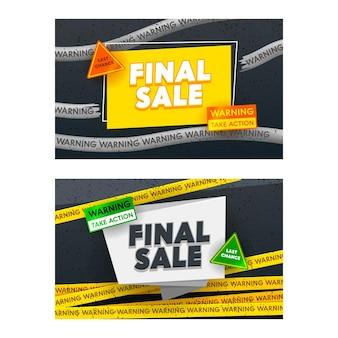 Conjunto de banners promocionais de venda final.