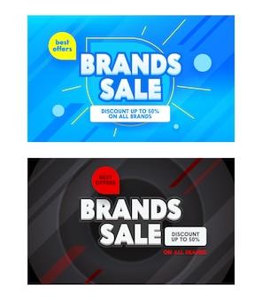 Conjunto de banners publicitários com tipografia de venda de marcas.