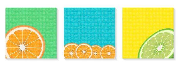 Conjunto de banners quadrados brilhantes olá, verão fatias de laranja e limão modelo para postagem