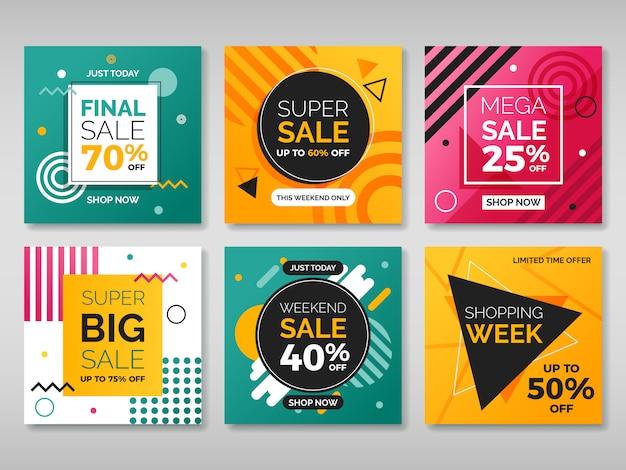 Conjunto de banners quadrados de promoção