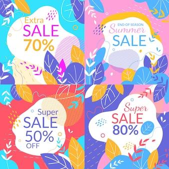Conjunto de banners quadrados de venda de verão