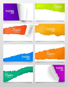 Conjunto de banners realistas com design de papel rasgado colorido e branco isolado