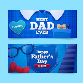 Conjunto de banners realistas do dia dos pais