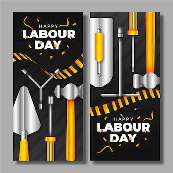 Conjunto de banners realistas para o dia do trabalho