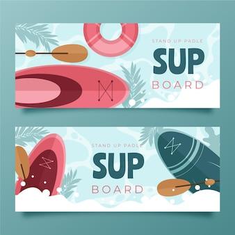 Conjunto de banners sup design plano