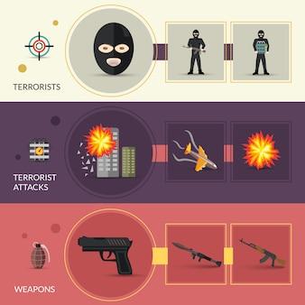 Conjunto de banners terrorismo