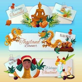 Conjunto de banners turísticas de tailândia
