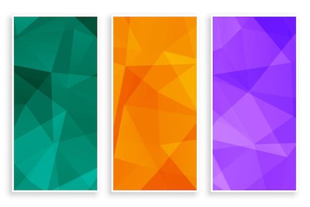 Conjunto de banners vazios abstratos de poli baixa