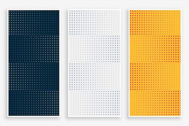 Conjunto de banners vazios de meio-tom abstrato