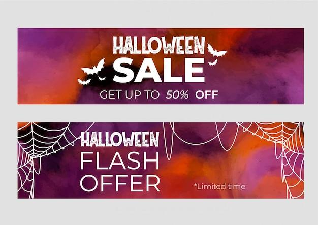 Conjunto de banners venda de halloween em aquarela