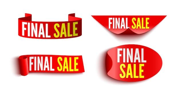 Conjunto de banners vermelhos de venda final em branco. fitas e adesivos. pergaminhos de papel.