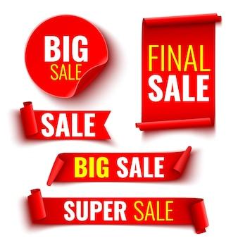 Conjunto de banners vermelhos de venda. fitas e adesivos.