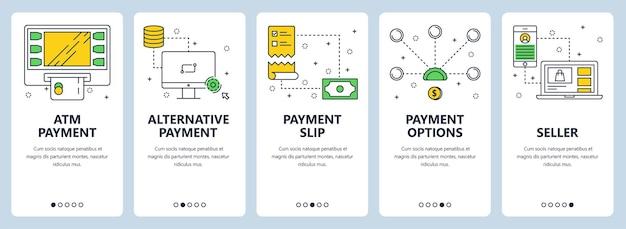 Conjunto de banners verticais com modelos de pagamento