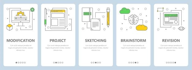 Conjunto de banners verticais com modelos de web de conceito de modificação, projeto, esboço, brainstorm e revisão. elementos de design de estilo de arte de linha fina moderna, símbolos, ícones para menu do site, impressão.
