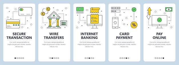 Conjunto de banners verticais com transações seguras, transferências eletrônicas, banco na internet, pagamento com cartão, modelos de site online de pagamento.