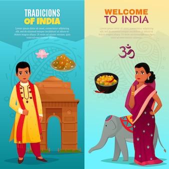 Conjunto de banners verticais da índia